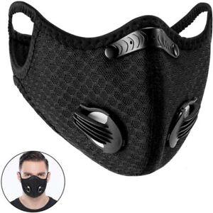Reusable Dust Face Mask Earloop Masks With Valves Black Air Purifying Haze Fog