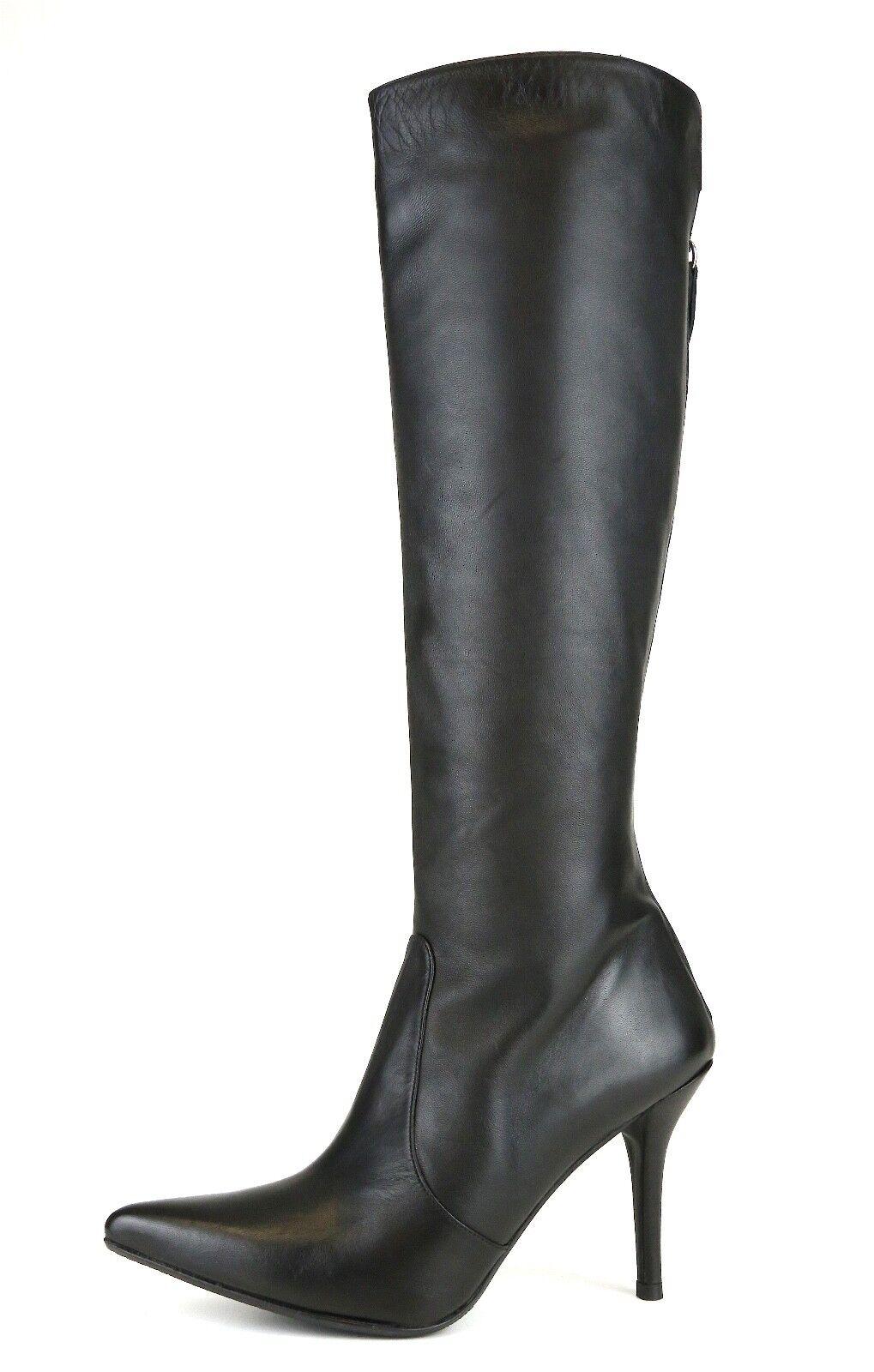 Stuart Weitzman Back Zip botas de cuero Negro Negro Negro para Mujeres Talla 6.5 M 1113  calidad auténtica