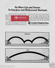 CONTINENTAL AIRLINES NO MORE UPS AND DOWNS TO SAN JOSE-BURBANK FROM SEATTLE AD
