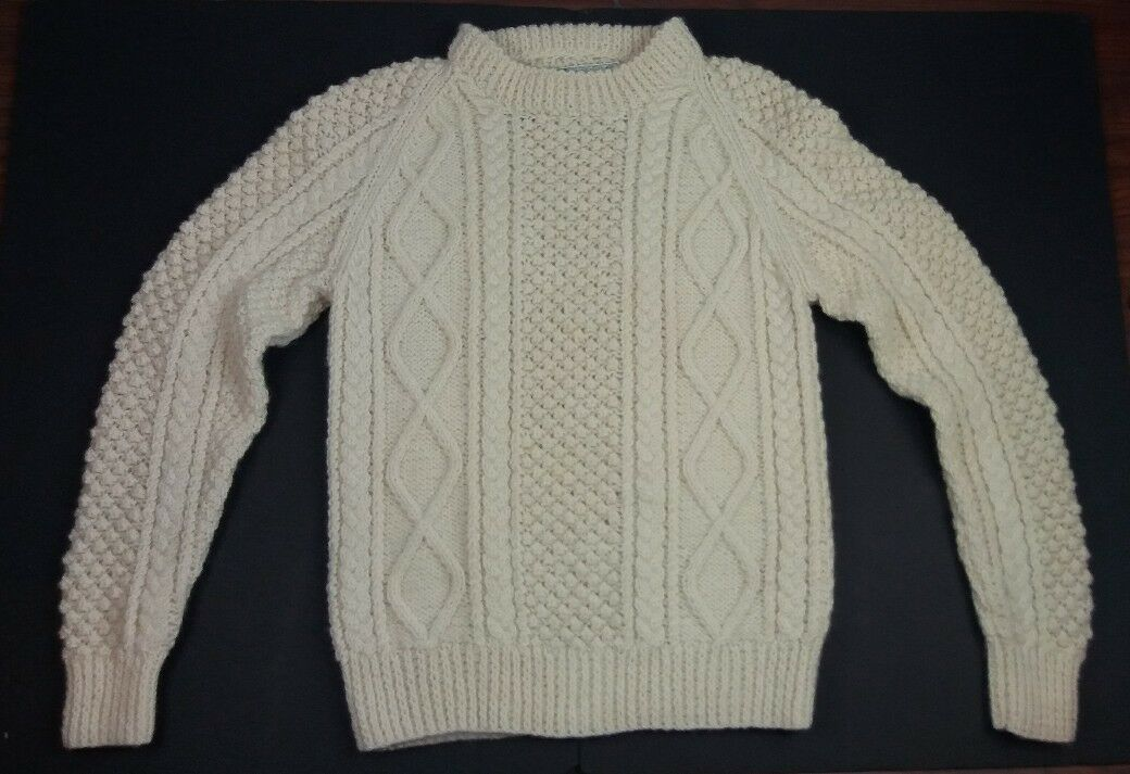 John Molloy Donegal Cable Knit Sweater Cream 100% Wool Irish Fisherman Handknit
