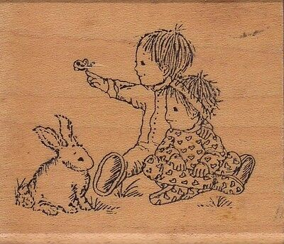 """bunny rabbit holly berry Wood Mounted Rubber Stamp 2 1//2 x 3/""""  Free Shipping"""