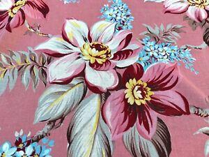 Sale-Magnolias-on-PINK-Barkcloth-Era-Vintage-Fabric-Drape-Curtain-30-039-s-Cottage