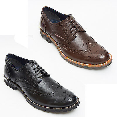 Herrlich Mens New Lace Up Oxblood Blue & Black Leather Formal Brogues Shoes Size 6 To 12 GroßEs Sortiment