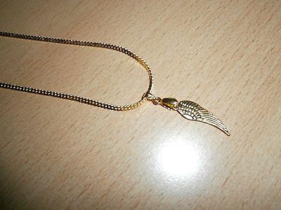 1 Halskette - Goldfarben - Anhänger Flügel - Neu Und Ungetragen Schnelle Farbe