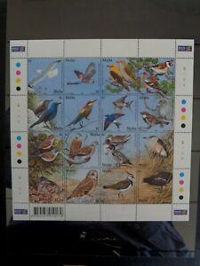 MALTA 2001 MALTESE BIRDS SHEETLET OF 16v MNH MINT SG1214-1229