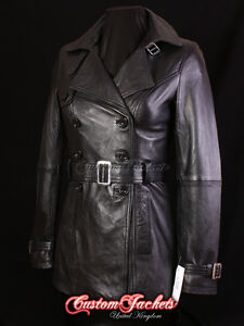 Paris Black Ladies New Designer Real Lambskin Leather Full Length Trench Coat