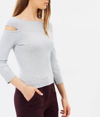 Karen Millen Cold Shoulder Cut Stretch Knit Blue Sweater Jumper Top KA108 8-12