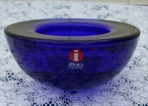 iittala-Cobalt-Blue-Glass-Tealight-Candle-Holder-With-Original-Sticker-MINT
