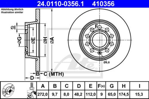 1t1, 1t2 2x Unités antithrombine Disque De Frein Essieu Arrière HA 24.0110-0356.1 pour VW Touran