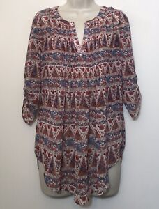 Daniel Rainn Small Tunic Blouse Red & Blue 3/4 Sleeve Relaxed Fit Boho Top