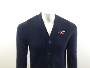 Hollister-California-Boy-039-s-Large-Long-Sleeve-Solid-Blue-Cardigan-Sweater