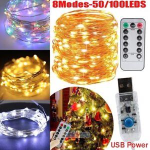 50-100-LED-USB-Copper-Wire-Fairy-String-Lights-X-039-mas-Tree-Party-Decor-w-Remote