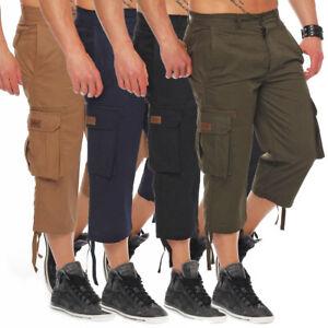 Finchman-Herren-Cargo-Shorts-Freizeithose-Bermuda-Capri-Hose-3-4-Hose