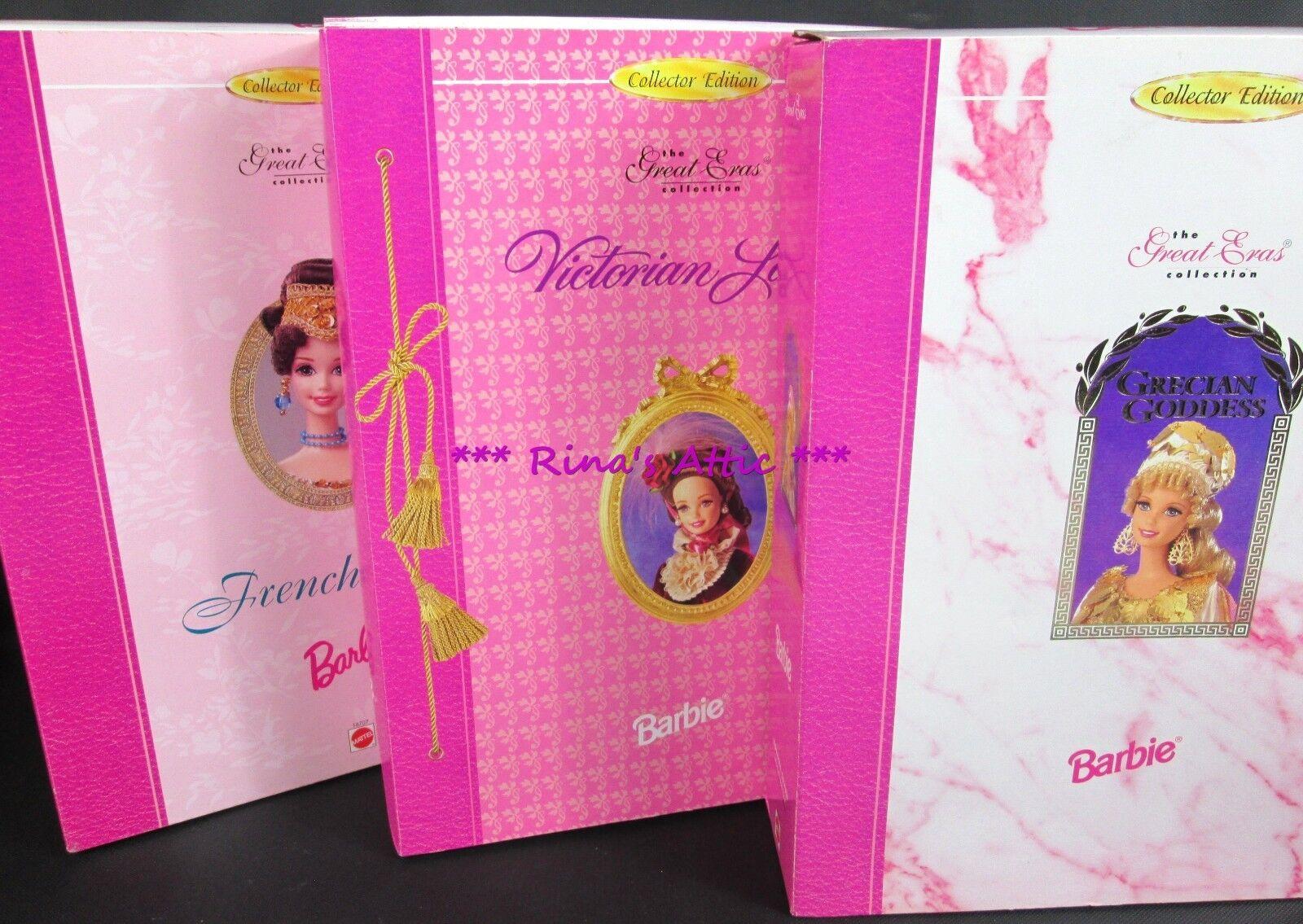 (Lote de 3) Excelente eras Muñecas Barbie Grecian Goddess francés victoriana Lady
