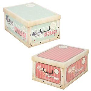 Details about 2 Collapsible Underbed Cardboard Vintage Storage Boxes  Lightweight Lids & Handle