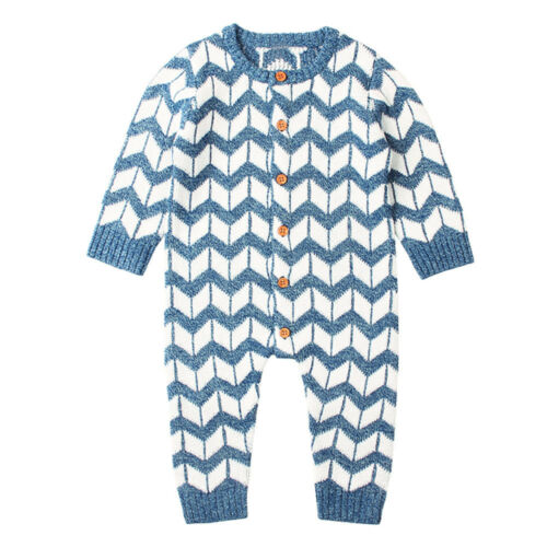 1PC Newborn Infant Baby Boy Girls Knitted Winter Romper Jumpsuit Outfit Clothes