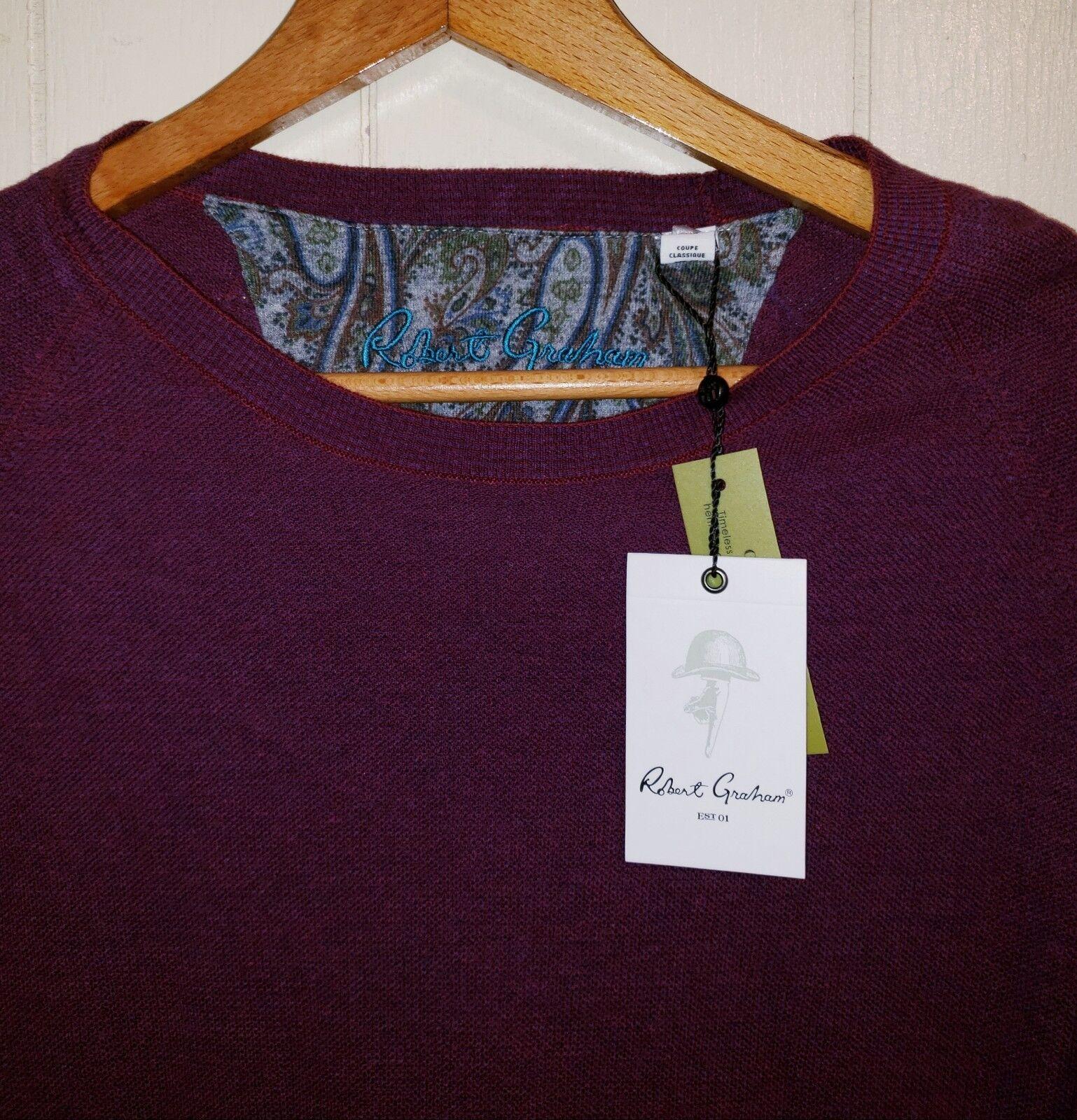 Robert Graham Wool Luxury Blend Sweater Shirt Mens 2XL NWT  Wine