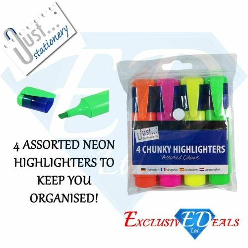 Fluorescent Chunky Highlighter Marker Pens Office School Stationery 4 Pack