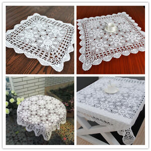 White Square Lace Tablecloth Cotton Crochet Lace Table Cloth Floral