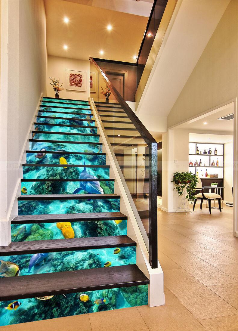 3D Meeresfisch 34 Stair Risers Dekoration Fototapete Vinyl Aufkleber Tapete DE