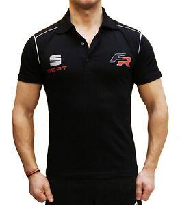 Seat-FR-Polo-de-sport-T-shirt-brode-LOGO-Fan-Homme-Noir-Coton-Auto-Fan-Leon-ST