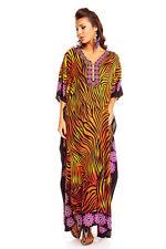 Ladies Kaftan Maxi Kimono Dress Nightgown Tunic Evening Party New Size 10 - 16