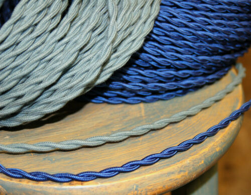 Vintage Style Lamp Cord Antique Lights Royal Blue Twisted Cloth Covered Wire