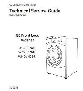 ge front load washer service repair manual ebay rh ebay com GE Front Load Washer Pump ge front load washer wbvh6240fww repair manual