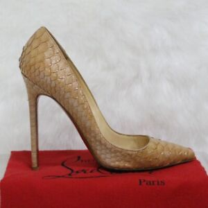 quality design 113e1 a57ff Details about Christian Louboutin So Kate Brown Python Pumps EU 37 US 7