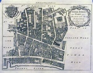Antique map, Tower Street Ward, divided into its Parishes