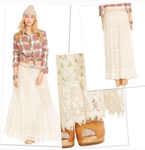 Denim & Supply Ralph Lauren Women's New White Crochet Peasant Maxi Skirt  M