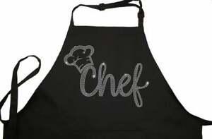 Rhinestone Embellished Black Apron with Chef and Hat in Crystal Rhinestones