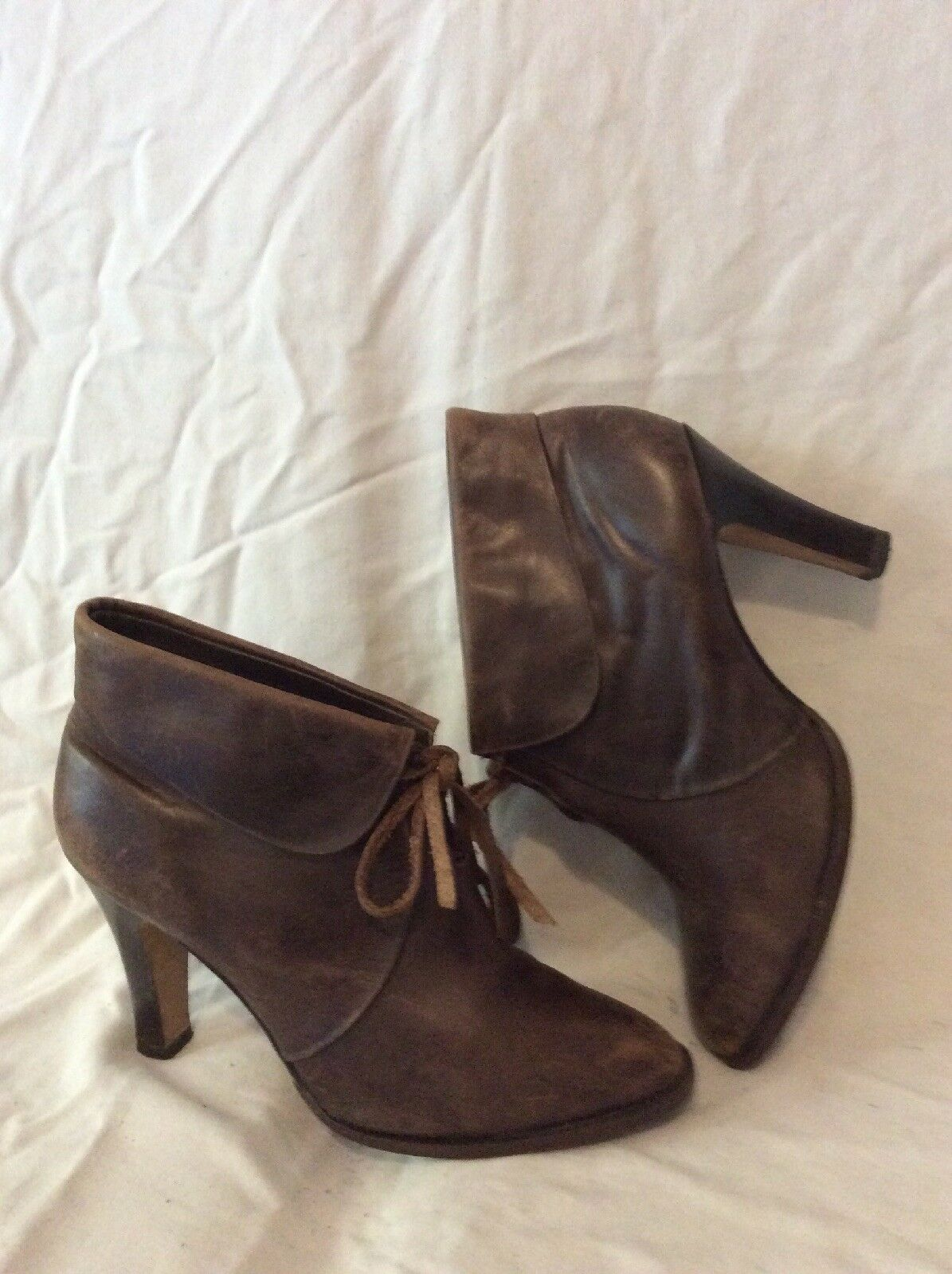 French Connection Brown Ankle Leather Boots Size 40