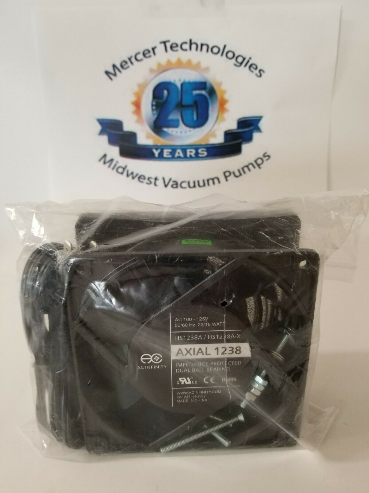 (1) AC Infinity AXIAL 1238, Muffin Fan, 120V AC 120mm x 38mm High Speed Server
