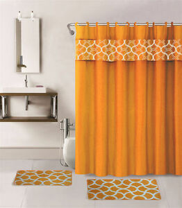 1-SHOWER-CURTAIN-FABRIC-HOOKS-BATHROOM-SET-BATH-MATS-ORANGE-GEOMETRIC