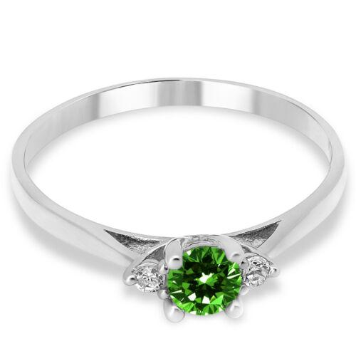 14K Solid or Blanc Lab Created Emerald trois pierres fiançailles Promesse Bague
