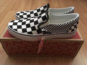 be352cb101b5cf Vans Classic Slip On Black   True White Checkerboard Men s Size 10 ...