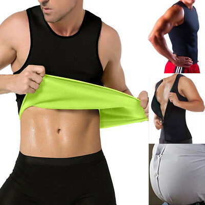 Men/'s Vest Neoprene T-shirt Fat Burn Sauna Sweat  Compression Sliming Shaper GAA