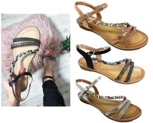 New-Ladies-Womens-Summer-Platt-Strap-Diamante-Flat-Holiday-Dress-beach-sandals