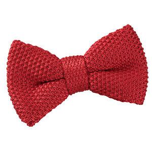 DQT-knit-knitted-Plain-Crimson-Red-Casual-reglable-pre-attache-Garcons-039-s-Bow-Tie