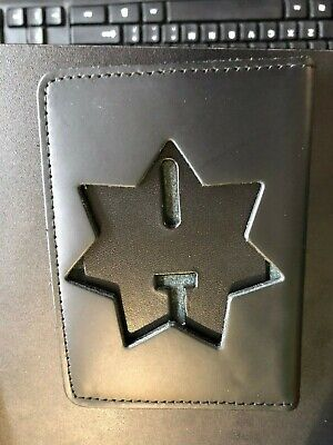 Leather Police Hidden Badge Case For ID /& Badge 7 Point Star