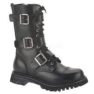 Demonia Riot 12 Ladies Goth Punk Unisex Leather Combat Boots Buckles