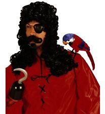 Captain Hook Wig Long Black Curly Wig Pirate Fancy Dress w/ Goatee & Moustache