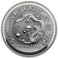 2000 2 oz Silver Australian Perth Mint Lunar Year of the Dragon Coin - SKU #9032