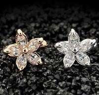 Flower Ear Cuff Clip On Earring One 1 Silver Gold Tone Body Jewerly Non-piercing