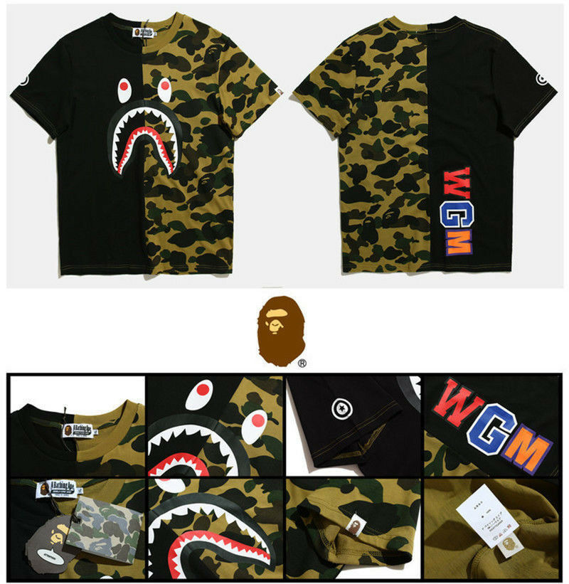 BAPE A BATHING APE Camo T-shirt Crew Neck Shark Head T Shirt Tops Mens Basic hot