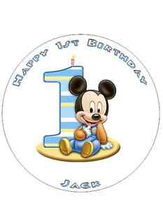 Baby Mickey 1st Birthday Cake Topper A48 circle Wafer Paper
