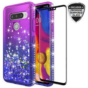 Details about For LG V40 ThinQ Quicksand Rhinestone Glitter Case W/ Glass  Screen Protector