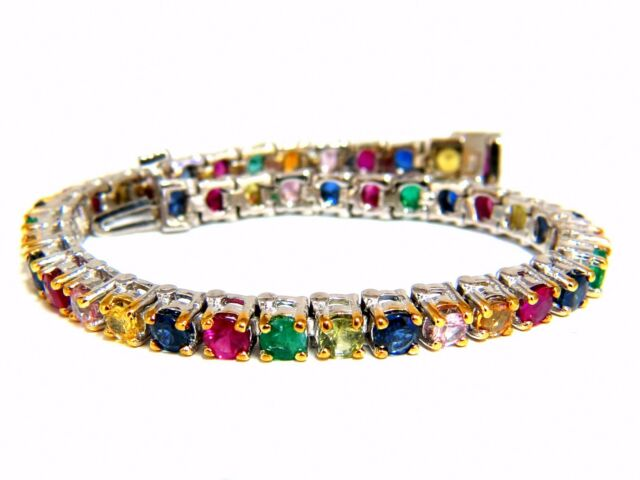 7.50ct natural ruby emerald sapphires diamond tennis bracelet 14kt gem line
