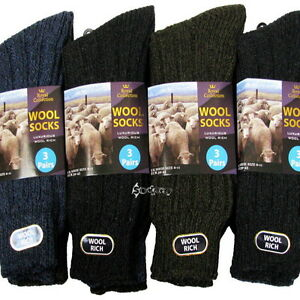 12 Pairs Mens Wool Rich Boot Hike Walking Thermal Chunky Work Socks Size 6-11